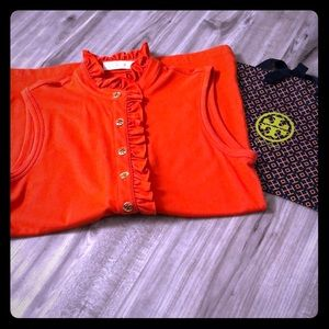 Tory Burch Sleeveless Polo w/ Logo Buttons